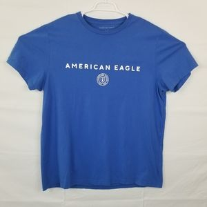 American Eagle New York Mens T-Shirt Blue White Spell Out Standard Fit Crew XL
